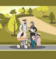 muslim family walking with kid in park vector image vector image