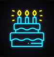 neon cake sign with candles light sweets pie vector image vector image