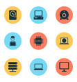 notebook icons set collection of hdd database vector image vector image