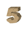 number 5 stone rock font five stones alphabet vector image
