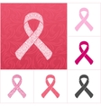Pink ribbons set of breast cancer on an abstract vector image