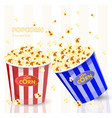 Popcorn in red and blue striped bucket boxes vector image