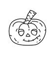 pumpkin icon doodle hand drawn or black outline vector image