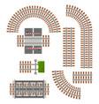 railway rails parts train railroad constructor vector image