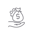 receiving the money line icon concept receiving vector image vector image
