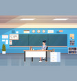 school classroom interior woman teacher sitting at vector image