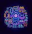 scuba diving neon concept vector image vector image