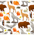seamless pattern with woodland forest animals