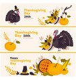 set of cartoon happy thanksgiving greeting banners vector image vector image