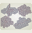 set of hexagonal maze vector image vector image