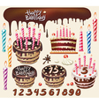 set with chocolate cakes and birthday decoration vector image vector image