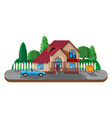 suburban family house countryside wooden house vector image