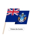 Tristan Da Cunha Ribbon Waving Flag Isolated on