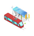 trolley stop isometric 3d icon vector image vector image
