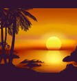 tropical summer sunset card vector image vector image