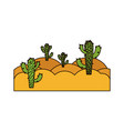 white background with landscape of desert with vector image vector image