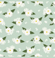 white cosmos flower on green background seamless vector image