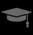 white dotted graduation cap icon vector image