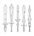 hand drown set of swords Isolated vector image