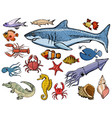 set of sea animals with shark crab squid vector image