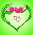 with tulip flowers in shape of heart vector image