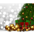 background with golden ball and christmas presents vector image