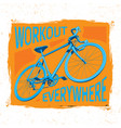 bicycle workout poster vector image vector image