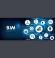 bim banner - building information modeling vector image vector image