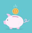 bitcoin falling piggy bank vector image