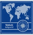 Blue travel background with dotted world map and vector image vector image