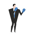 business fight businessman with boxing gloves vector image vector image