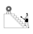 business woman climb stairs with arrow target vector image