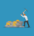businessman digging bitcoin in the rock vector image vector image
