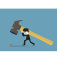 businessman to use a sledgehammer to crack a walnu vector image