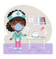 cartoon female nurse in office vector image vector image