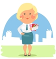 Cartoon office people - Lady with Christmas cards vector image vector image