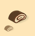 chocolate jelly roll vector image vector image
