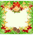 christmas and new year frame with pine cones vector image vector image
