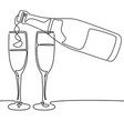 continuous line drawing bottle and glasses of vector image