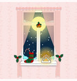 cozy pink room window with pink curtains full vector image