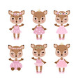 cute deer in dress in modern flat style vintage vector image vector image