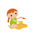 cute girl making a sand castle cute girl making a vector image