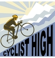 Cyclist racing bike up steep mountain vector image vector image