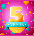 five years anniversary celebration design banner vector image