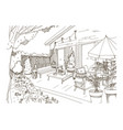 freehand sketch of backyard patio or terrace vector image vector image