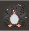 gift postcard with cartoon animal penguin vector image
