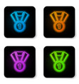 glowing neon medal icon isolated on white vector image vector image