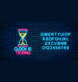 glowing neon sign with hourglass and clock is vector image
