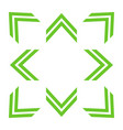 green double arrows in 8eight different directions vector image vector image