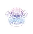 hand drawn sketch fireman skull vector image vector image